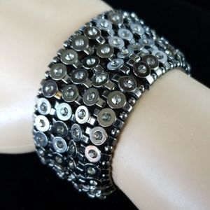Vintage Gunmetal Rhinestone Stretch Cuff Bracelet